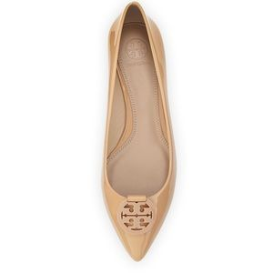 Patent Leather Pointy-Toe Logo Flat Camelia Pink